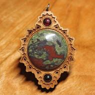 'Crown Mandala' Pendant - Dragon's Blood Jasper and Garnet in Cherry Hardwood