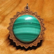 'Triangle Mandala' Pendant - Malachite in Cherry Hardwood