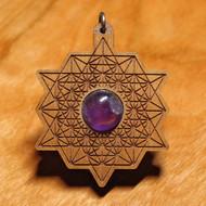 '64 Tetrahedron Grid' Pendant - Amethyst in Cherry Hardwood