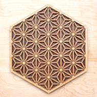 'Asanoha Pattern' Three Layer Wall Art - Maple, Birch, Walnut