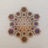 'Hexagon Star Fractal' Three Layer Wall Art