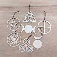 Pagan/Wiccan Ornaments - Set of Seven - Laser Cut Wood