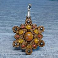 'Snowflake Mandala' Gemstone Grid Talisman with Pietersite and Tigereye