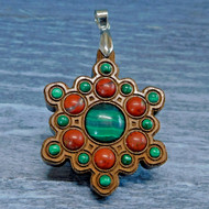 'Snowflake Mandala' Gemstone Grid Talisman with Malachite and Red Jasper