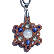 'Snowflake Mandala' Gemstone Grid Talisman - Walnut with White Moonstone, Sodalite and Prehnite