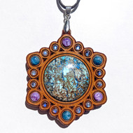 'Power Mandala' Gemstone Grid Talisman ONE OFF - Cherry with Charoite, Apatite and Rainbow Moonstone