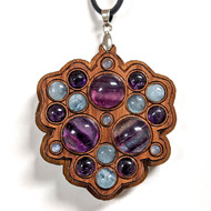 LED Gemstone Talisman Pendant - Walnut with Rainbow Fluorite, Rainbow Moonstone, Black Moonstone and Amethyst