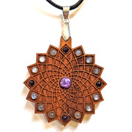'Square Flower' Gemstone Grid Talisman - Cherry with Charoite, Amethyst and Black Moonstone