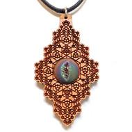 'Hexagon Diamond' Hardwood Pendant in Cherry with Aura Druzy Quartz