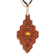 'Hexagon Diamond' Hardwood Pendant in Cherry with Tigerseye, Citrine and Garnet