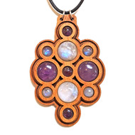 'Orb Bubble' Gemstone Grid Talisman ONE OFF - Cherry with Rainbow Moonstone and Amethyst