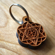 Star Tetrahedron Hexagon Seed of Life Hardwood Keychain