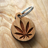 Hemp Leaf Hardwood Keychain