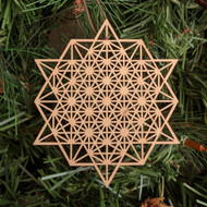 64 Sided Tetrahedron Holiday Ornament - Sacred Geometry - Laser Cut Wood