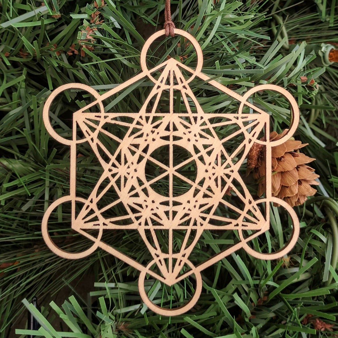 Metatron S Cube Holiday Ornament Sacred Geometry Laser Cut Wood