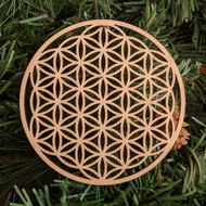 Flower of Life Holiday Ornament - Sacred Geometry - Laser Cut Wood