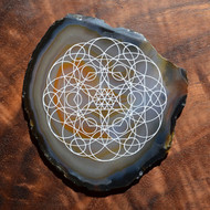 Heart Chakra Crystal Grid Design - Laser Engraved Agate