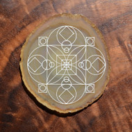 Root Chakra Crystal Grid Design - Laser Engraved Agate