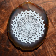 Flower of Life Vortex Mandala Design by Rooz Kashani - Laser Engraved Agate