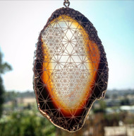 64 Tetrahedron Grid Engraved Agate Pendant - Silver Plated