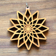 Divine Diamond Fractal in Cherry wood