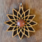 Divine Diamond Fractal in Cherry wood with Goldstone