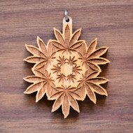Hemp Leaf Mandala in Cherry wood