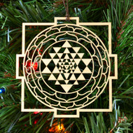 Sri Yantra Mandala Ornament - Sacred Geometry - Laser Cut Wood