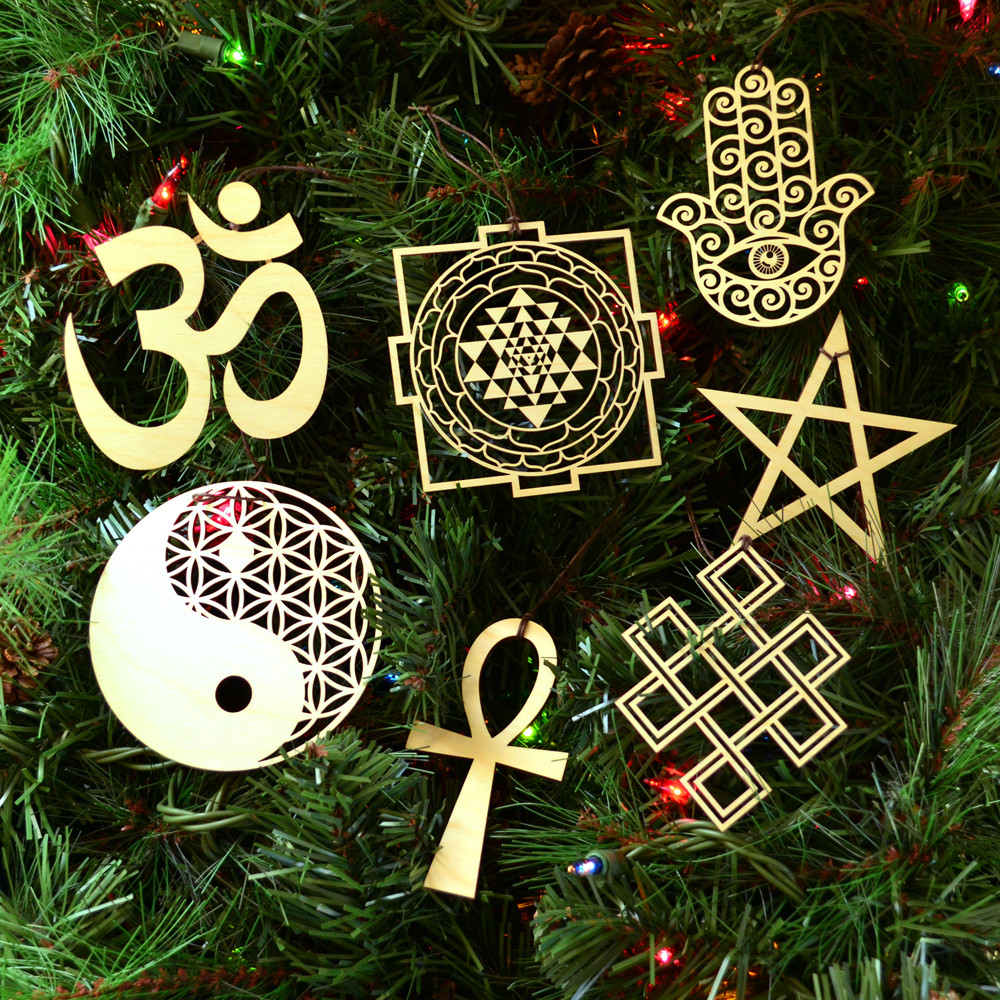 Sacred Symbols Holiday Ornaments Set Of Seven Laser Cut Wood