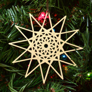 12 Sided Star Fractal Ornament - Sacred Geometry - Laser Cut Wood