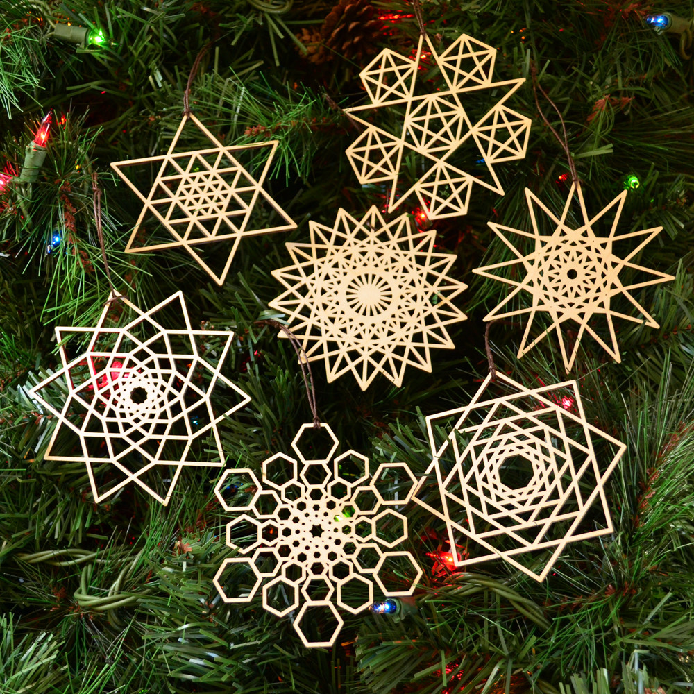 Star Fractal Holiday Ornaments Set Of Seven Laser Cut Wood