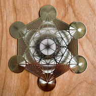 Metatron's Cube (Detailed) - 18 karat Gold Plated Crystal Grid - 4""