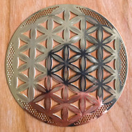 Flower of Life (Detailed) - 18 karat Gold-Plated Crystal Grid - 4""