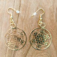 Metatron's Cube Earrings - 18 Karat Gold Plated