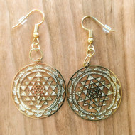 Sri Yantra Mandala Earrings - 18 Karat Gold Plated