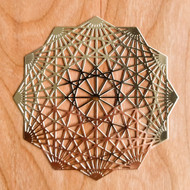 12 Pointed Star - 18 karat Gold Plated Crystal Grid - 4""