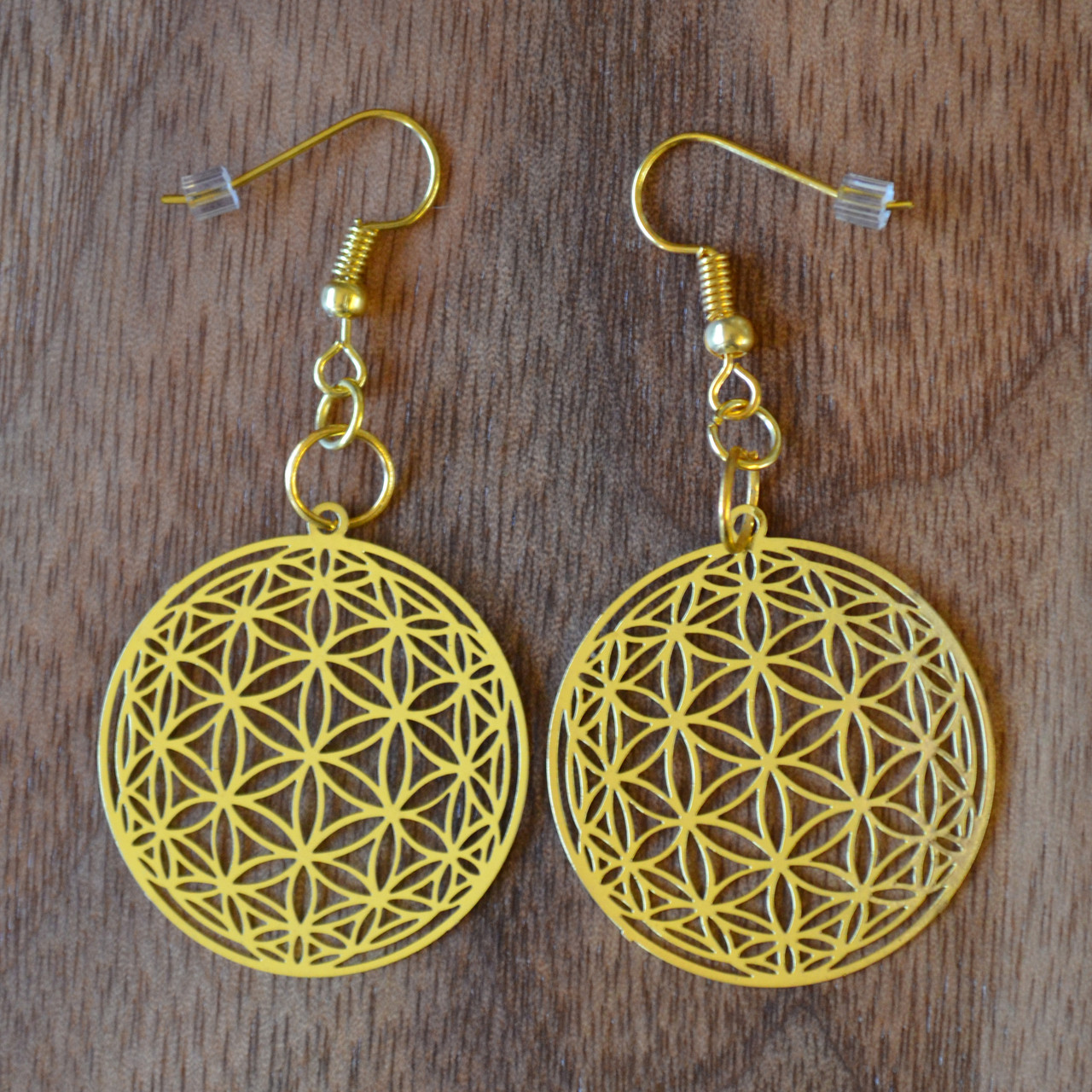 9c9357a69 Flower of Life Orb Earrings - 18 karat Gold Plated - LaserTrees