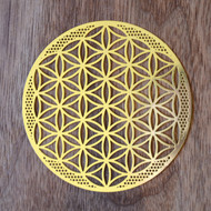 Flower Of Life - 18 karat Gold Plated Crystal Grid - 2.8""