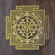 "Sri Yantra- 18 Karat Gold Plated Crystal Grid - 2.8"""