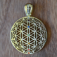 Flower of Life Orb - Silver Plated Pendant with Rainbow Gemstones