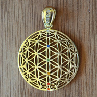 Flower of Life Orb - 18 Karat Gold Plated Pendant with Rainbow Gemstones