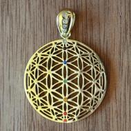 Flower of Life Orb - 18 Karat Gold Plated Pendant with Rainbow Gemstones