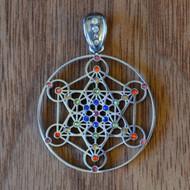 Metatron's Cube - Silver Plated Pendant with Rainbow Gemstones