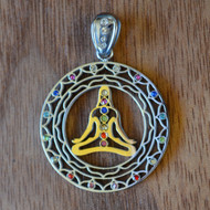 Chakra Meditation - Silver Plated Pendant with Rainbow Gemstones