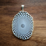 Phi Triangle Grid - Silver Plated Laser Engraved Agate Pendant