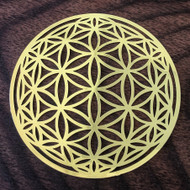 Flower of Life Orb - 18 Karat Gold Plated Crystal Grid - 2.8""