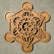 Metatron's Cube Five Layer Cherry Wood Wall Art