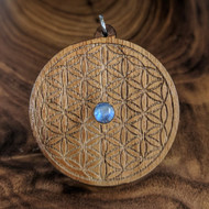 Flower of Life Hardwood Pendant in Walnut with 6mm Rainbow Moonstone