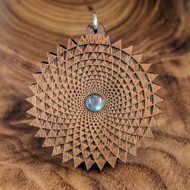 Phi Triangle Grid Hardwood Pendant in Walnut with 6mm Labradorite