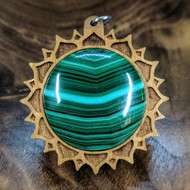 Lotus Mandala Hardwood Pendant in Cherry with Malachite